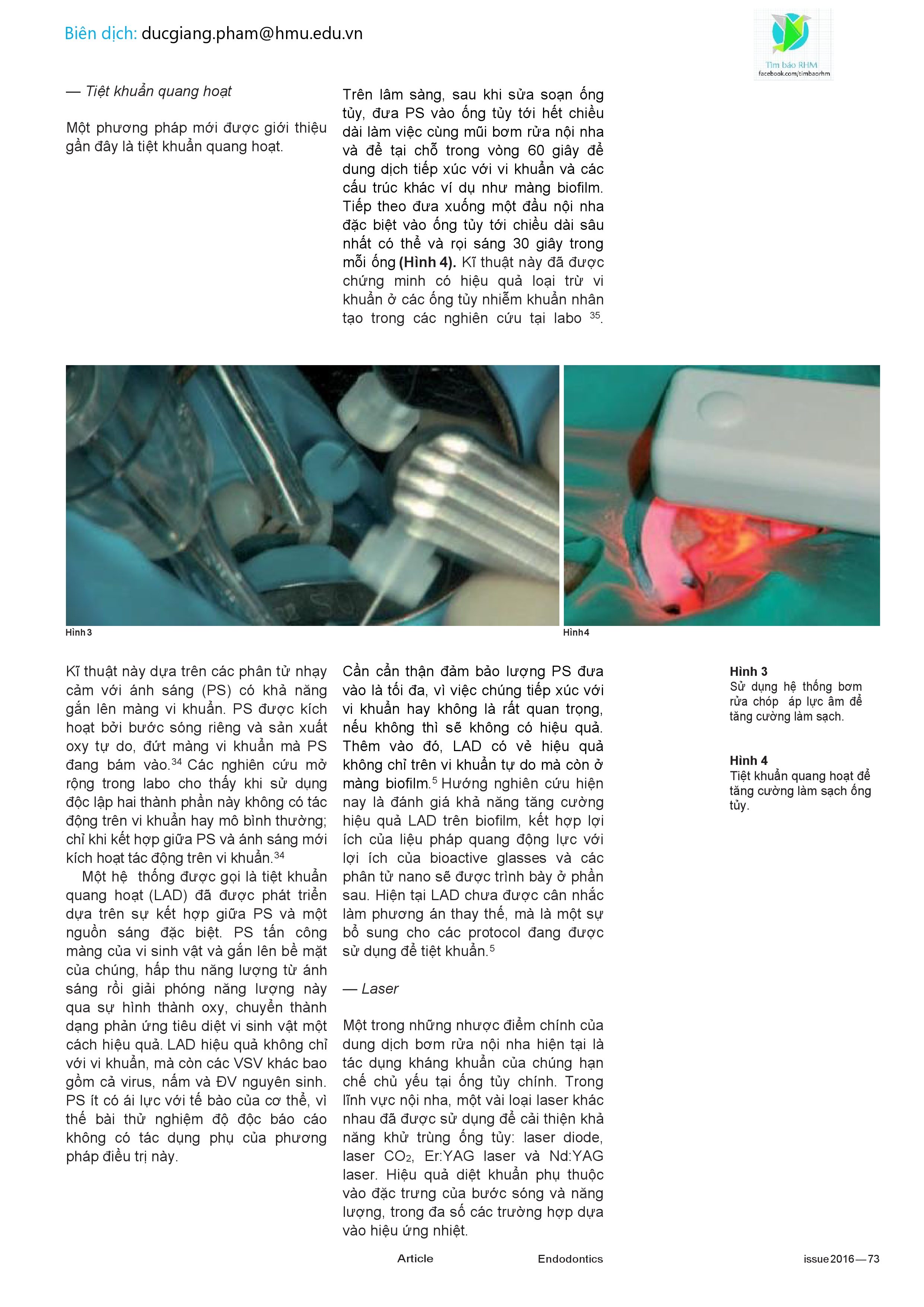 NEW TECHNOLOGIES — to improve root canal disinfection - vn0004